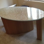 oak / cracked ice desk