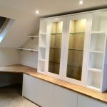handleless white and oak home office