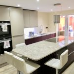 london stone and brinjal with cambria nevern quartz