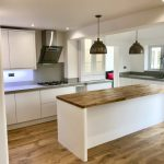 signal white j handle solid oak and warm grey corian
