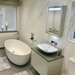 corian bath with ammonite wall hung unit