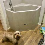 neutral concrete corian bespoke dog bath