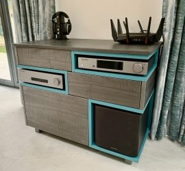 figured sycamore and french turquoise audio cabinet