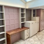sulking room pink with white oiled oak home office