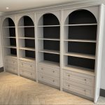 cool grey library with drawers