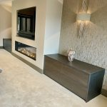 book matched sycamore with dekton lounge cabinetry